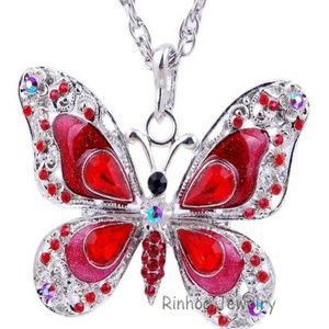 Red Butterfly Necklace- NEW- 26 inch Chain